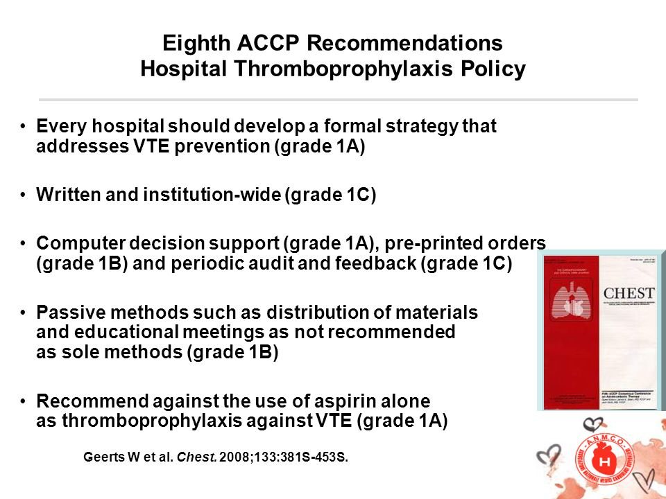 Eighth ACCP Recommendations Hospital Thromboprophylaxis Policy