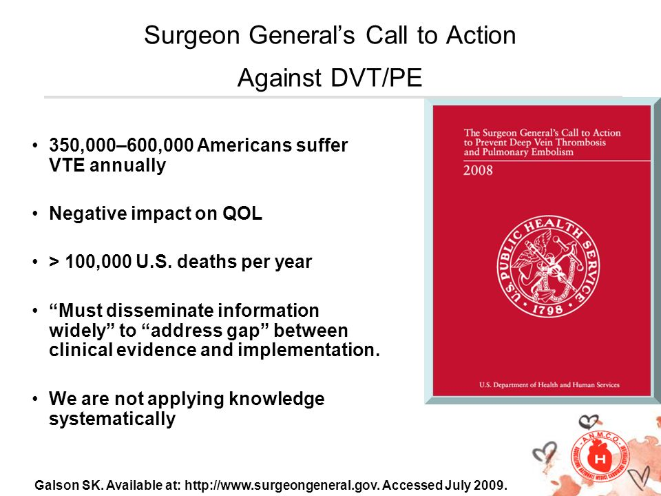 Surgeon General's Call to Action Against DVT/PE