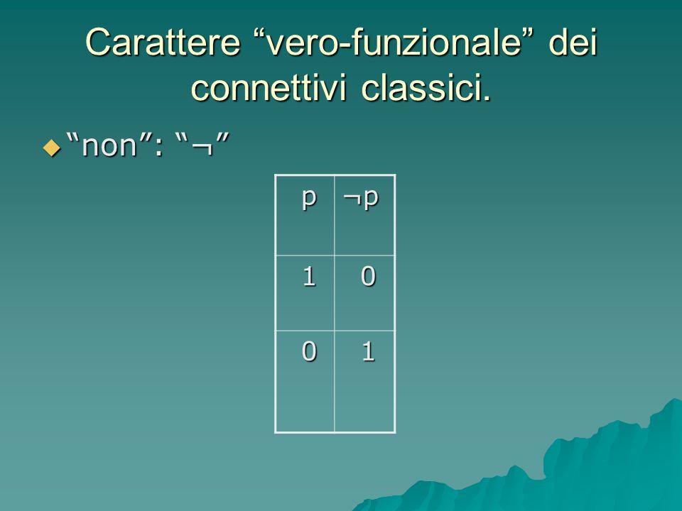 Carattere vero-funzionale dei connettivi classici.
