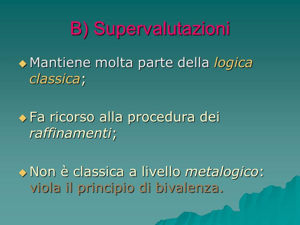 B) Supervalutazioni Mantiene molta parte della logica classica;