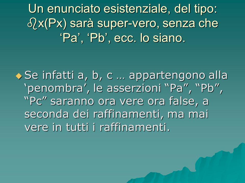 Un enunciato esistenziale, del tipo: x(Px) sarà super-vero, senza che 'Pa', 'Pb', ecc. lo siano.