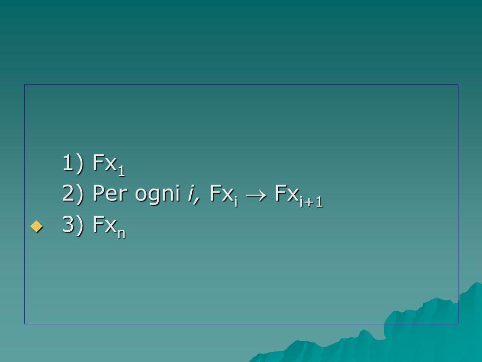 1) Fx1 2) Per ogni i, Fxi  Fxi+1 3) Fxn