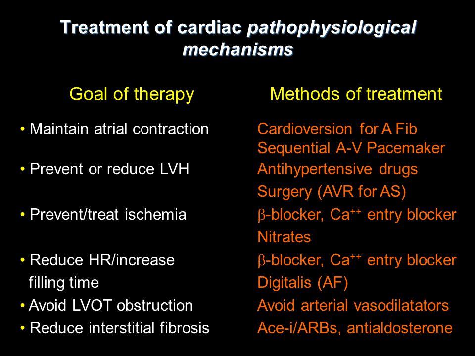 Treatment of cardiac pathophysiological mechanisms