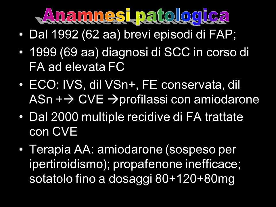 Anamnesi patologica Dal 1992 (62 aa) brevi episodi di FAP; 1999 (69 aa) diagnosi di SCC in corso di FA ad elevata FC.