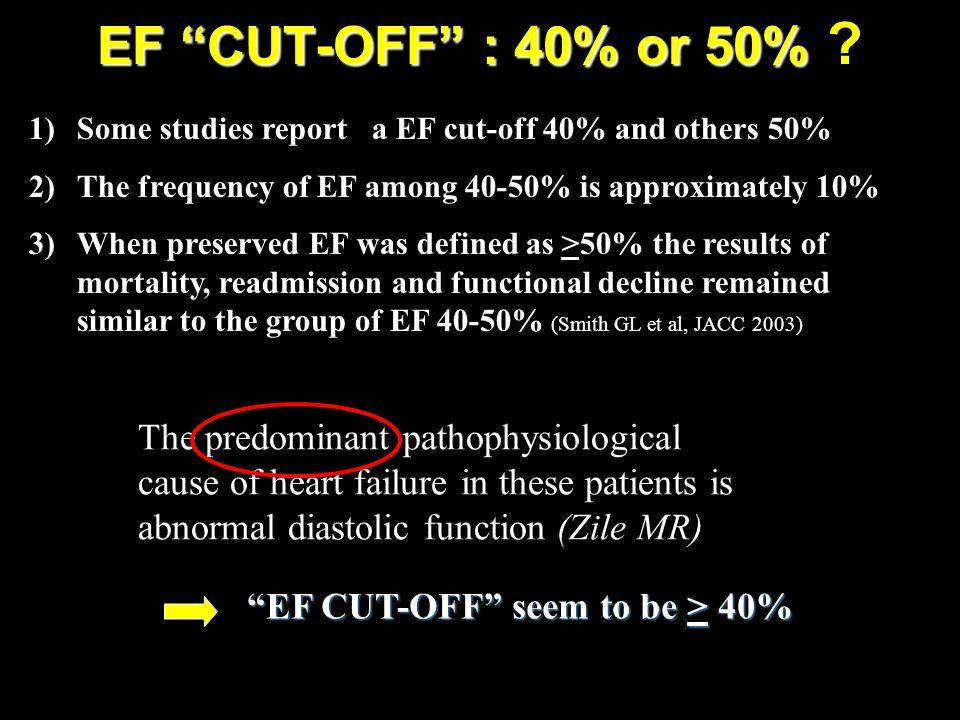EF CUT-OFF : 40% or 50% The predominant pathophysiological