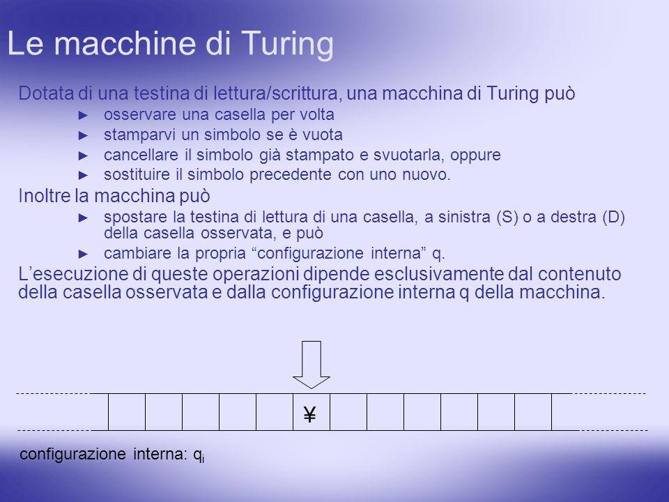 Le macchine di Turing Dotata di una testina di lettura/scrittura, una macchina di Turing può. osservare una casella per volta.