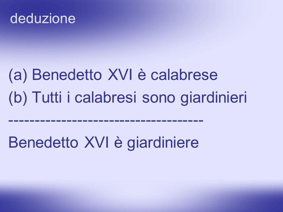 (a) Benedetto XVI è calabrese (b) Tutti i calabresi sono giardinieri