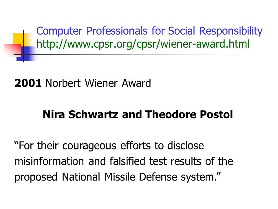 Nira Schwartz and Theodore Postol
