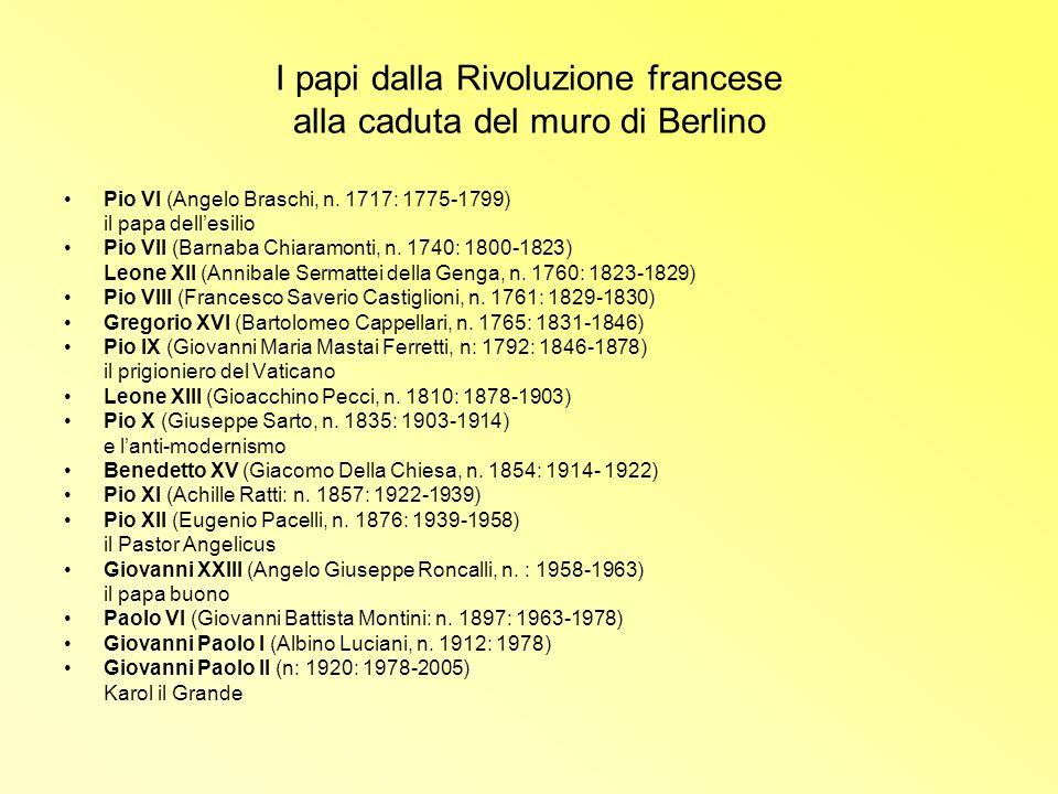 I papi dalla Rivoluzione francese alla caduta del muro di Berlino