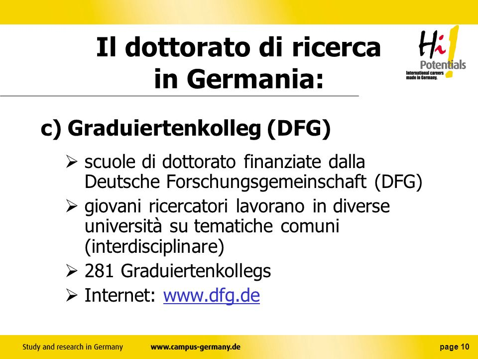 Il dottorato di ricerca in Germania:
