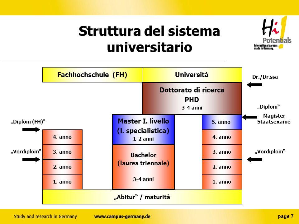Struttura del sistema universitario
