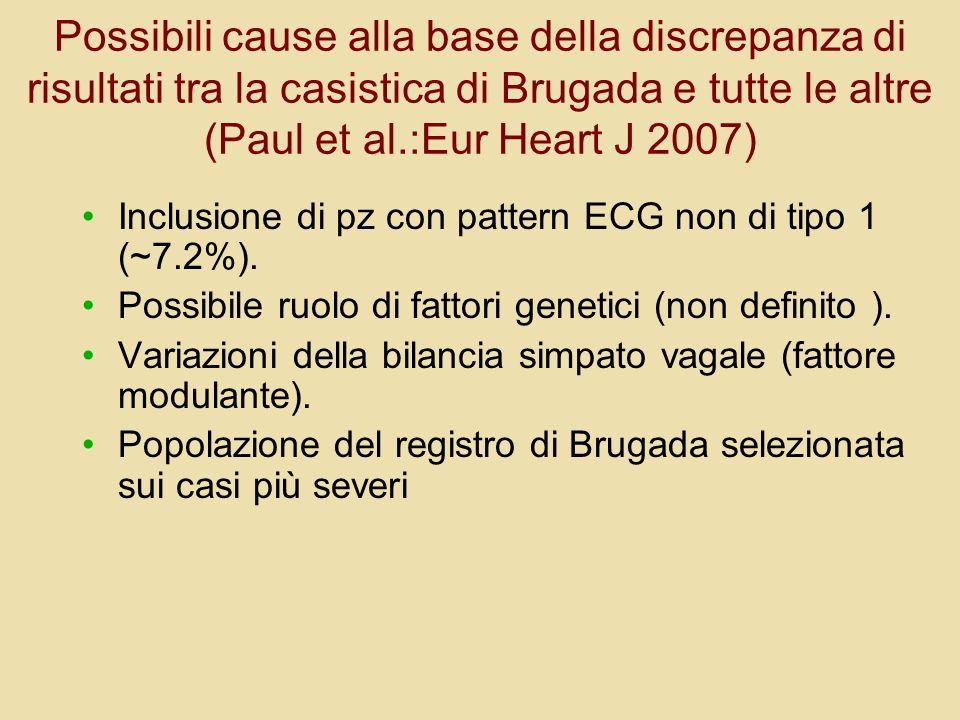 Possibili cause alla base della discrepanza di risultati tra la casistica di Brugada e tutte le altre (Paul et al.:Eur Heart J 2007)