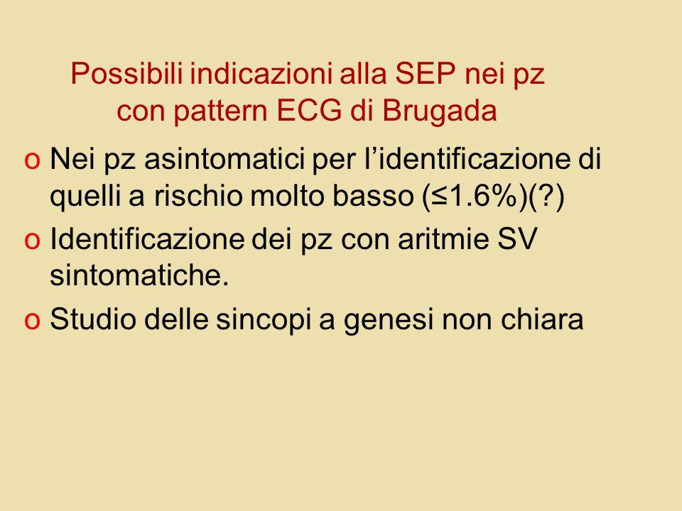Possibili indicazioni alla SEP nei pz con pattern ECG di Brugada