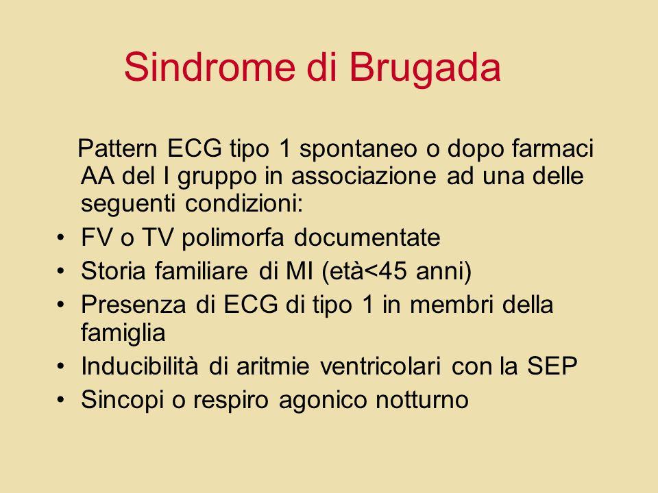Sindrome di Brugada Pattern ECG tipo 1 spontaneo o dopo farmaci AA del I gruppo in associazione ad una delle seguenti condizioni: