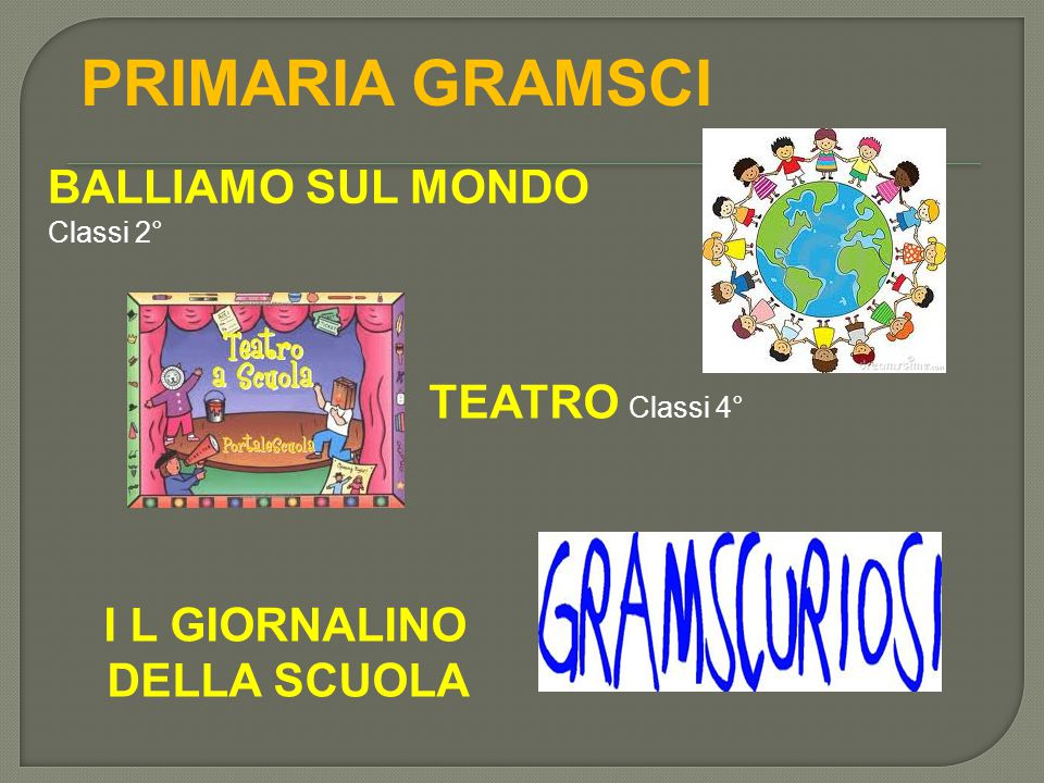 PRIMARIA GRAMSCI BALLIAMO SUL MONDO Classi 2° TEATRO Classi 4°