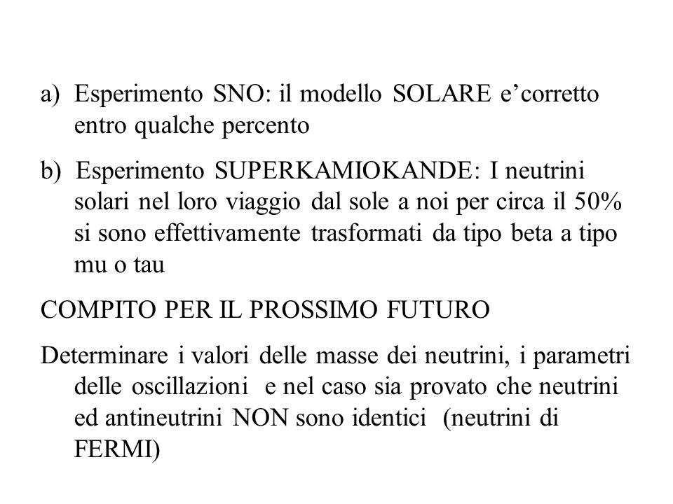 Esperimento SNO: il modello SOLARE e'corretto entro qualche percento