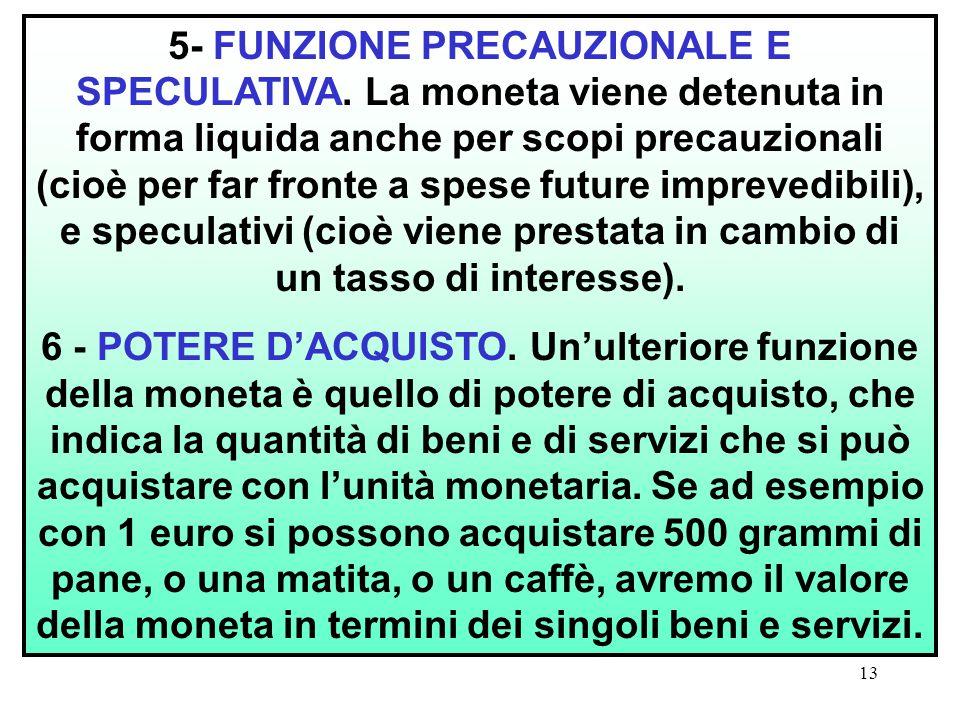 5- FUNZIONE PRECAUZIONALE E SPECULATIVA