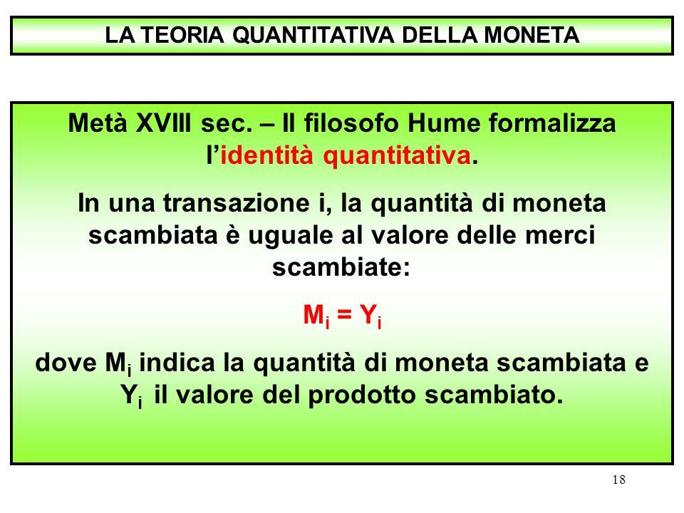Metà XVIII sec. – Il filosofo Hume formalizza l'identità quantitativa.