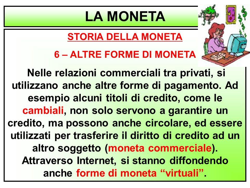 LA MONETA STORIA DELLA MONETA 6 – ALTRE FORME DI MONETA