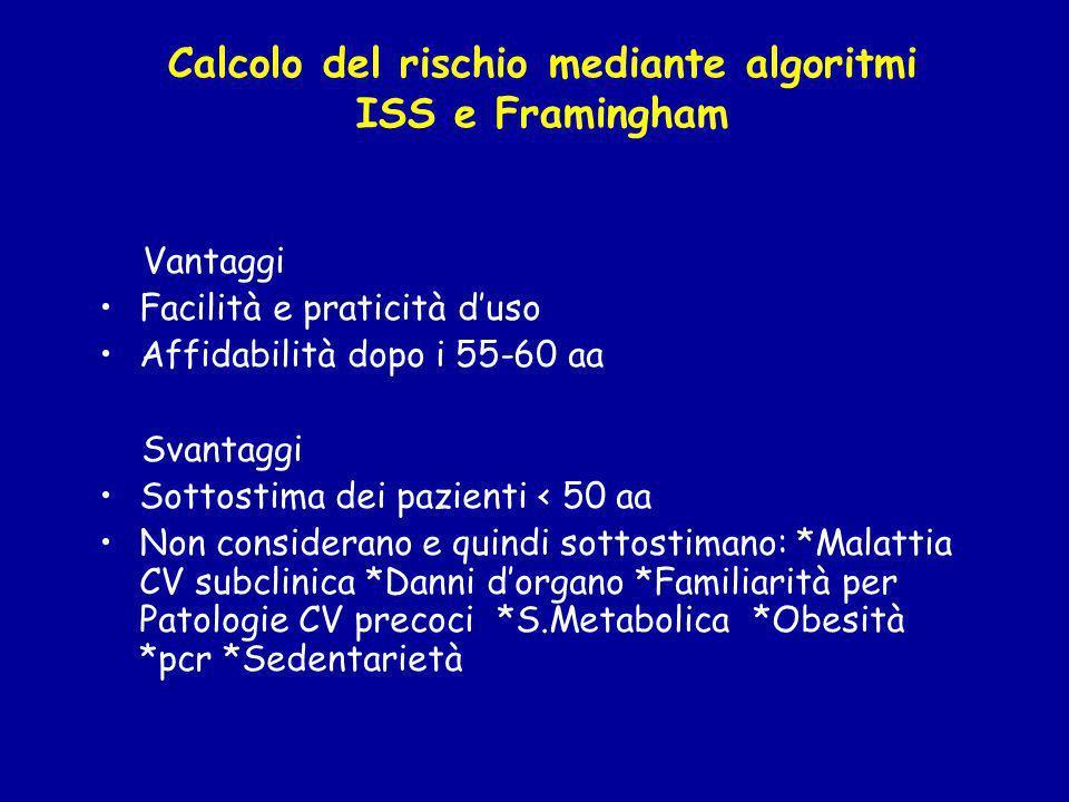 Calcolo del rischio mediante algoritmi ISS e Framingham