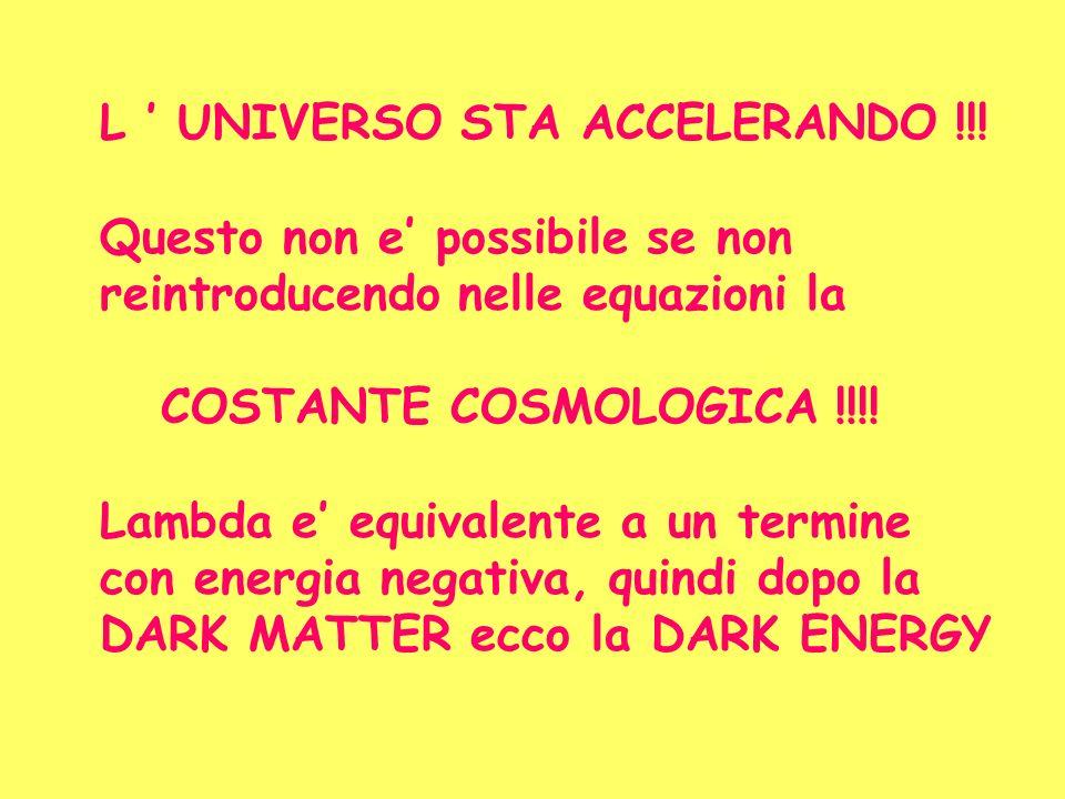 L ' UNIVERSO STA ACCELERANDO !!!