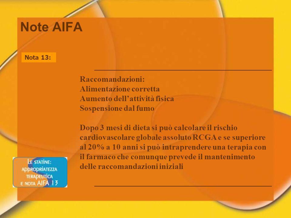 Note AIFA Raccomandazioni: Alimentazione corretta