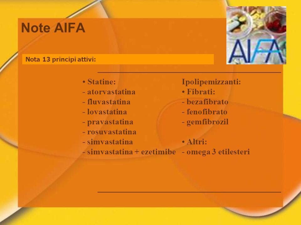 Note AIFA • Statine: - atorvastatina - fluvastatina - lovastatina