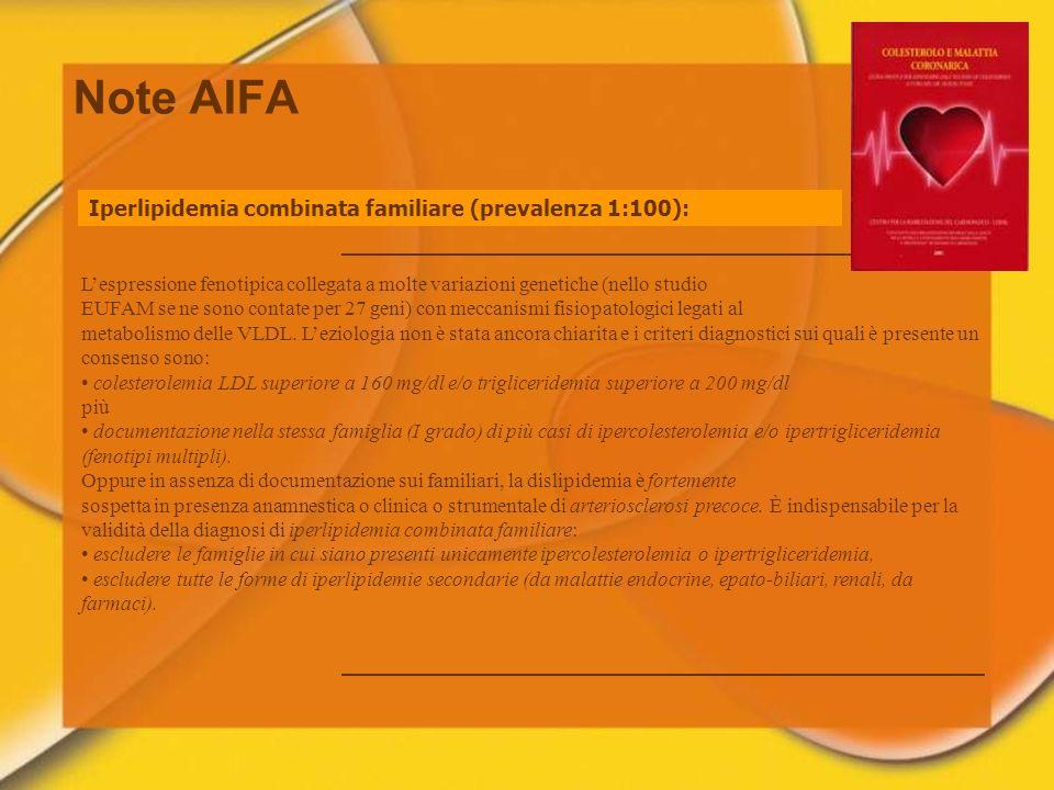 Note AIFA Iperlipidemia combinata familiare (prevalenza 1:100):