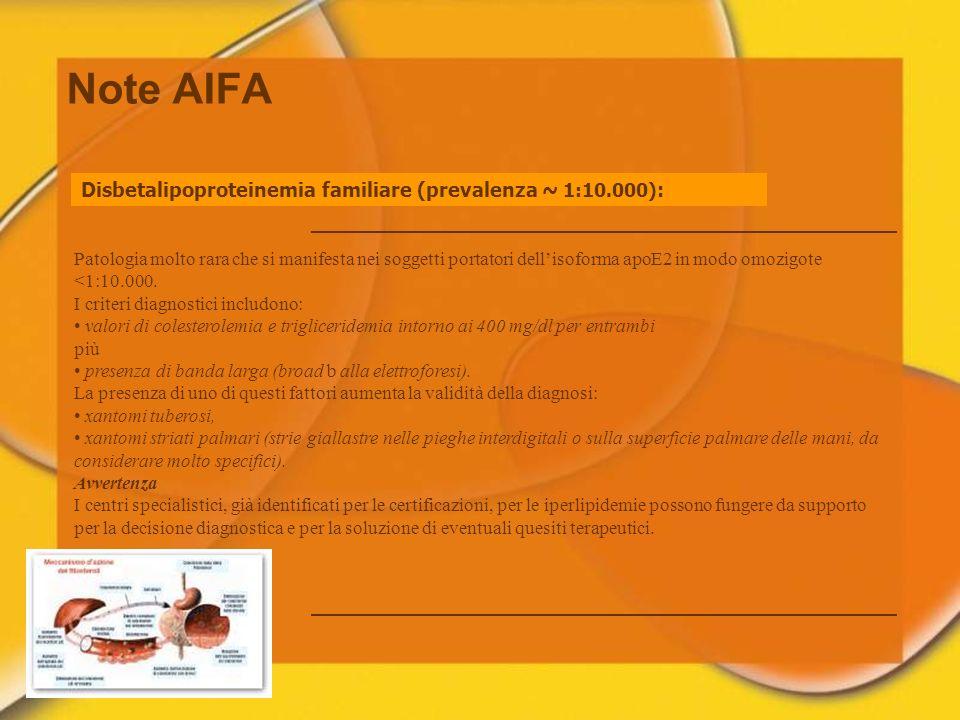 Note AIFA Disbetalipoproteinemia familiare (prevalenza ~ 1:10.000):