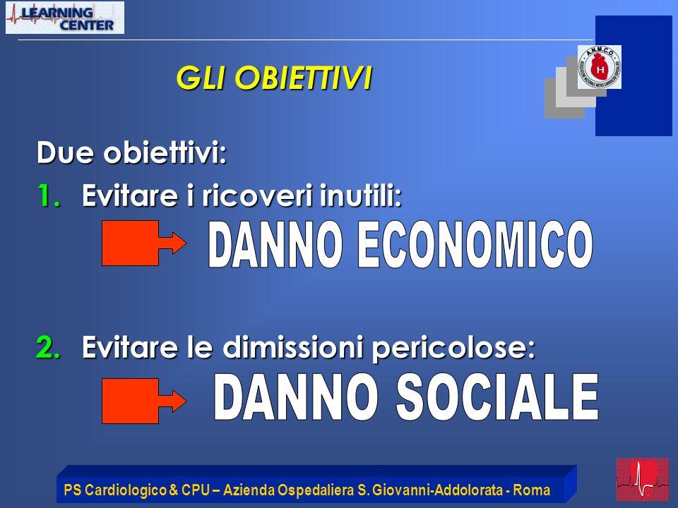 DANNO ECONOMICO DANNO SOCIALE GLI OBIETTIVI Due obiettivi: