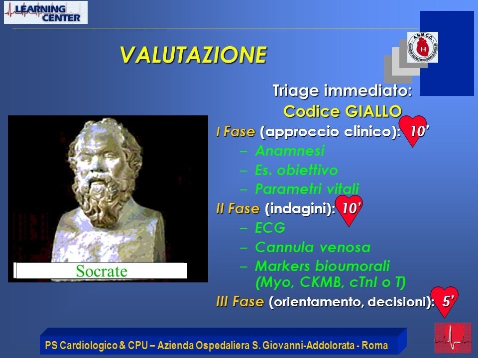 VALUTAZIONE Socrate Triage immediato: Codice GIALLO Anamnesi