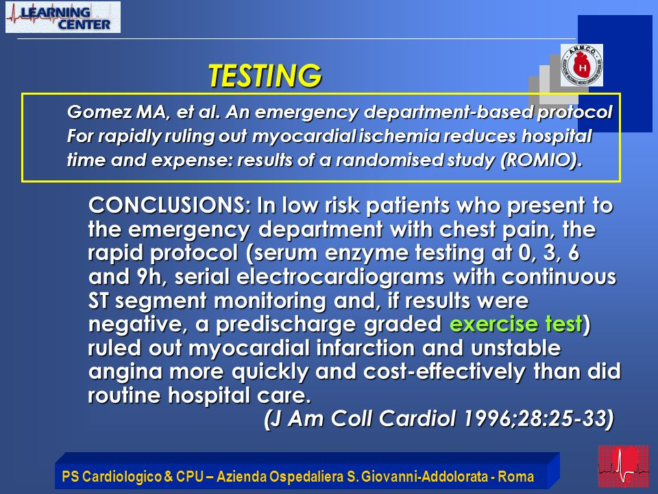 TESTING Gomez MA, et al. An emergency department-based protocol