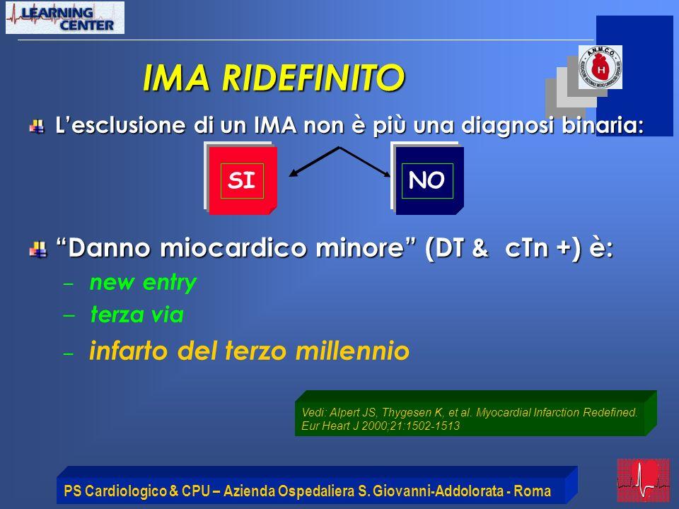 IMA RIDEFINITO Danno miocardico minore (DT & cTn +) è:
