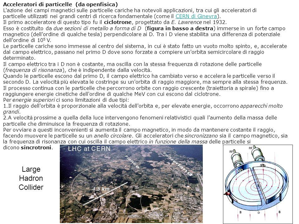 Large Hadron Collider Acceleratori di particelle (da openfisica)