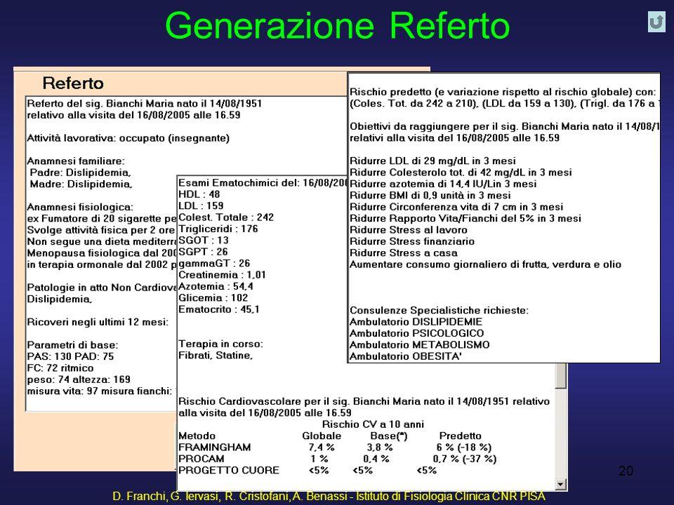 Generazione Referto D. Franchi, G. Iervasi, R. Cristofani, A.