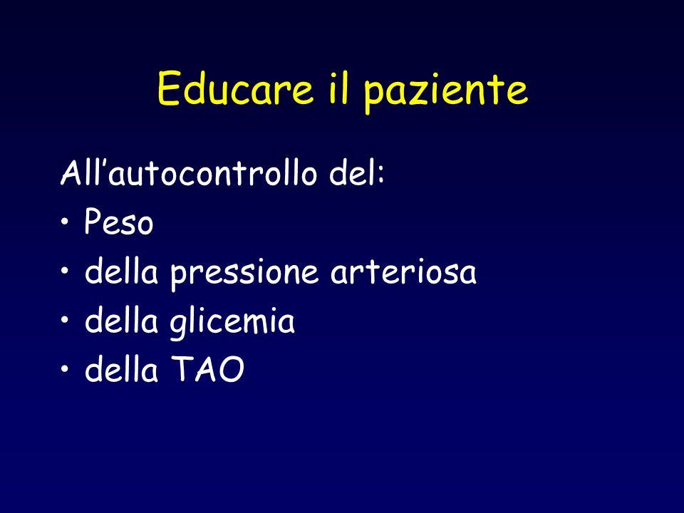 Educare il paziente All'autocontrollo del: Peso