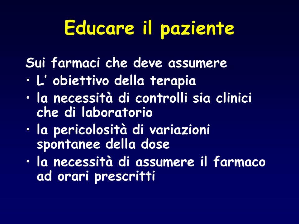 Educare il paziente Sui farmaci che deve assumere