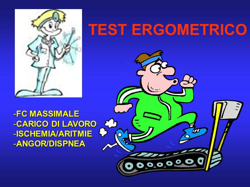 TEST ERGOMETRICO FC MASSIMALE CARICO DI LAVORO ISCHEMIA/ARITMIE