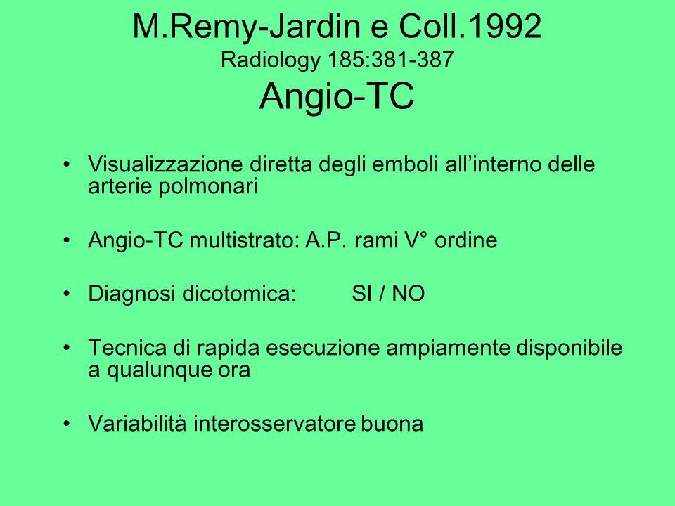 M.Remy-Jardin e Coll.1992 Radiology 185:381-387 Angio-TC