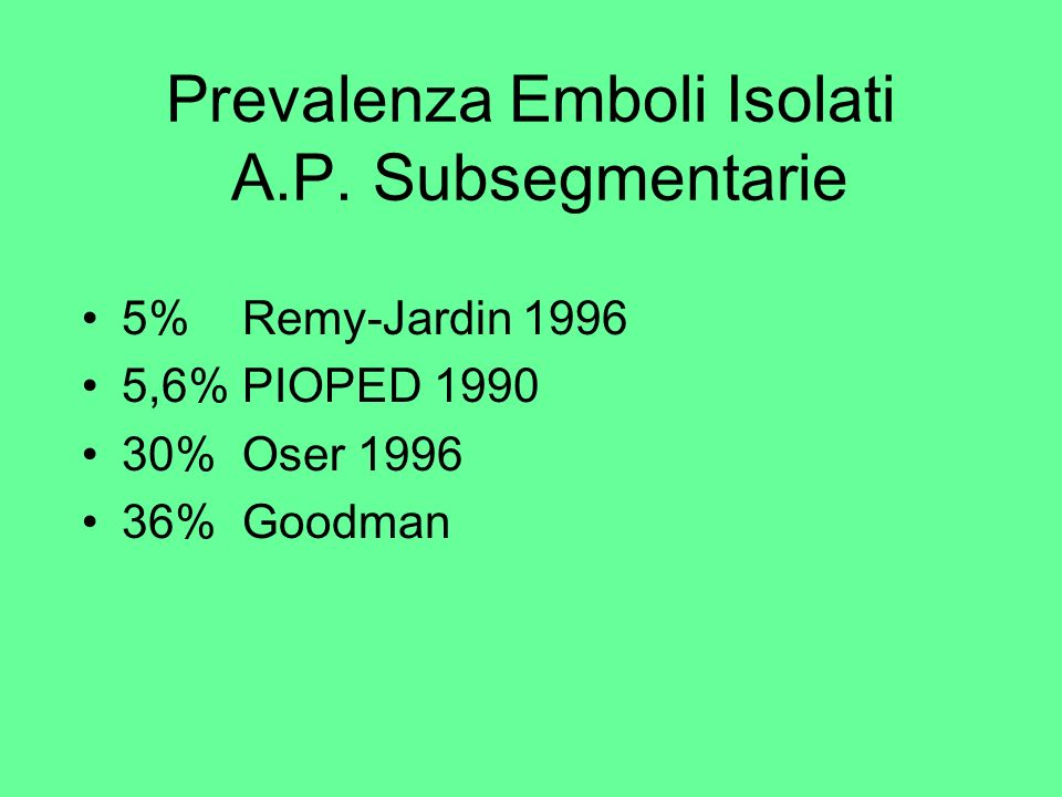 Prevalenza Emboli Isolati A.P. Subsegmentarie