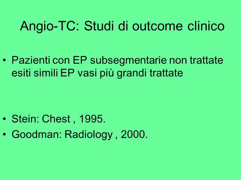 Angio-TC: Studi di outcome clinico
