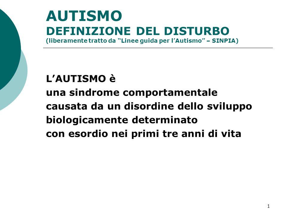 AUTISMO DEFINIZIONE DEL DISTURBO (liberamente tratto da Linee guida per l'Autismo – SINPIA)