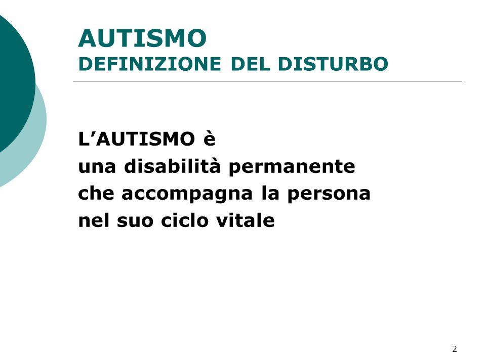 AUTISMO DEFINIZIONE DEL DISTURBO