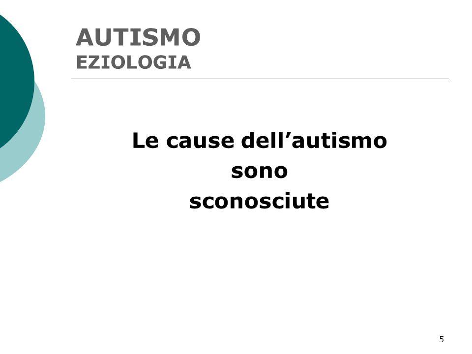AUTISMO EZIOLOGIA Le cause dell'autismo sono sconosciute
