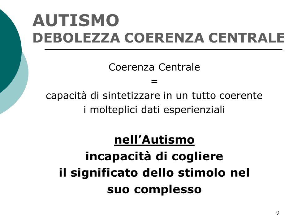 AUTISMO DEBOLEZZA COERENZA CENTRALE