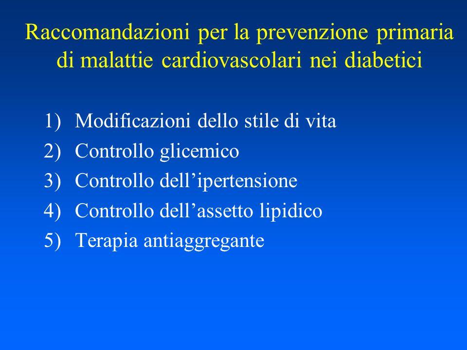 Raccomandazioni per la prevenzione primaria di malattie cardiovascolari nei diabetici