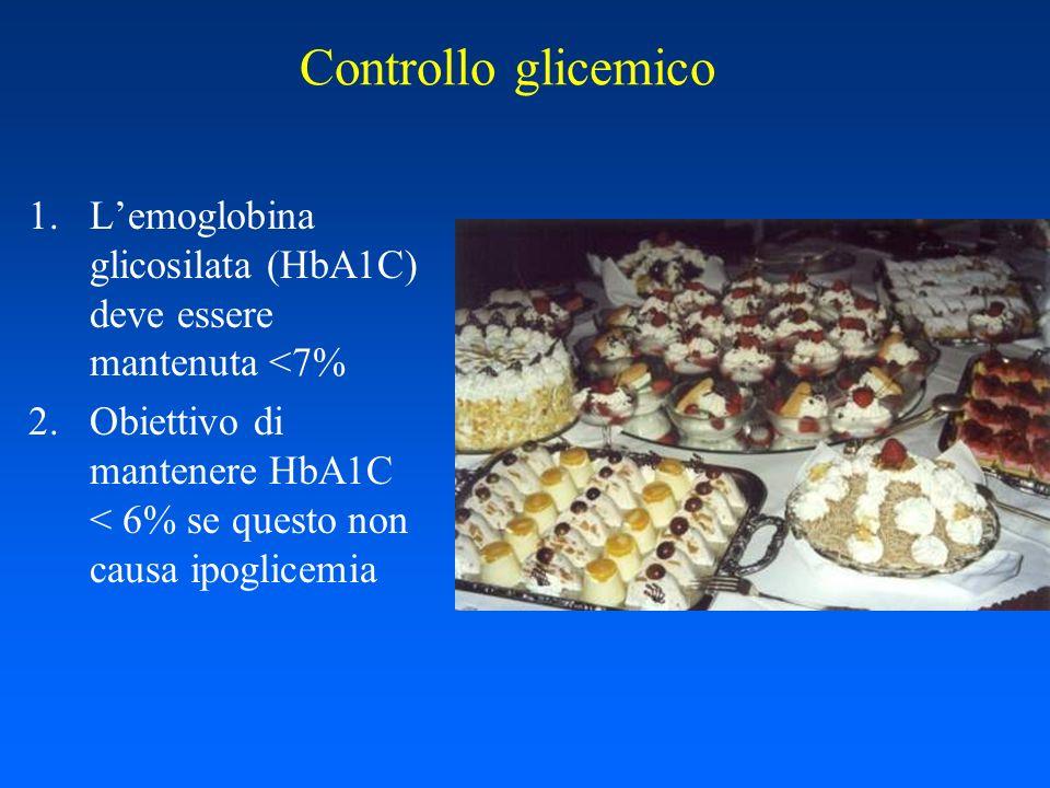 Controllo glicemico L'emoglobina glicosilata (HbA1C) deve essere mantenuta <7% Obiettivo di mantenere HbA1C < 6% se questo non causa ipoglicemia.