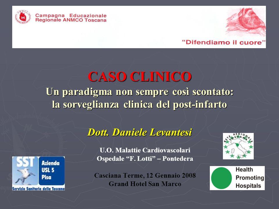 CASO CLINICO Un paradigma non sempre così scontato: la sorveglianza clinica del post-infarto Dott. Daniele Levantesi