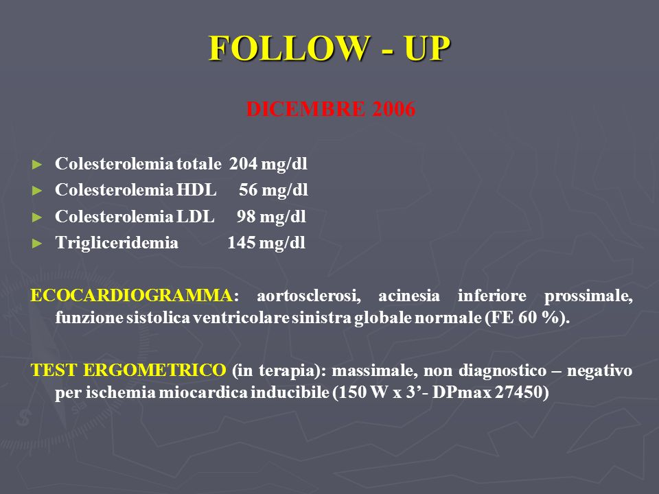 FOLLOW - UP DICEMBRE 2006 Colesterolemia totale 204 mg/dl