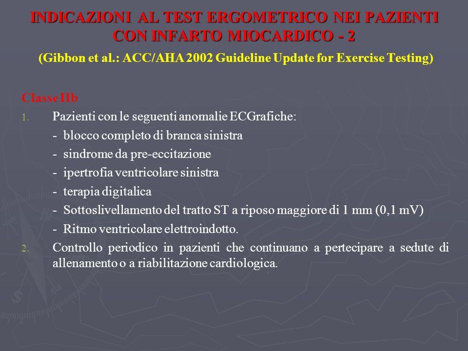 INDICAZIONI AL TEST ERGOMETRICO NEI PAZIENTI CON INFARTO MIOCARDICO - 2 (Gibbon et al.: ACC/AHA 2002 Guideline Update for Exercise Testing)